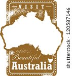 Vintage Style Australia Travel Stamp - stock vector