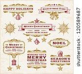 vintage christmas labels.... | Shutterstock .eps vector #120589687