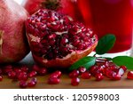 Fruits - Pomegranates and pomegranate juice - stock photo