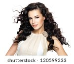 beautiful brunette woman with... | Shutterstock . vector #120599233