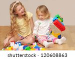 kids playing with wooden blocks ... | Shutterstock . vector #120608863