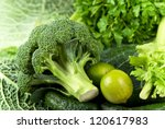 fresh raw sliced broccoli... | Shutterstock . vector #120617983