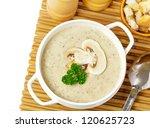 mushroom cream soup on a table  ... | Shutterstock . vector #120625723