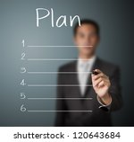 business man writing blank plan list - stock photo
