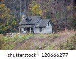 Old Rough Log Cabin On A Hill...