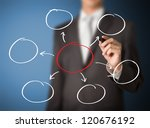business man writing diagram - stock photo