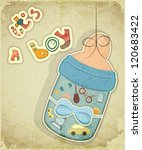 Birthday Card for Boy. Baby milk bottle for boy on vintage background. Vector illustration. - stock vector