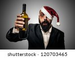 drunk modern elegant santa claus babbo natale on grey background - stock photo