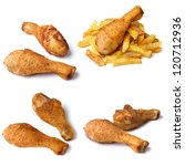 Fried chicken leg with french fries isolated on white background collage - stock photo