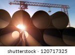 Pipe at a construction site in the sunlight. - stock photo