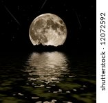 Full Moon stars and water - stock photo