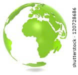 Green Planet. Abstract 3d Green Earth model. Isolated. - stock photo