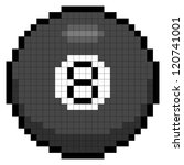 Pixel 8 Ball Isolated on White - stock vector