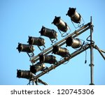 Spotlights and stage lights at an outdoor concert - stock photo