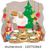 family christmas dinner | Shutterstock .eps vector #120752863