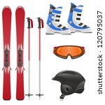 ski equipment icon set vector illustration isolated on white background