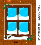 abstract snowy decorated window ... | Shutterstock .eps vector #120807463