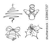 Four Christmas Single Line Icons