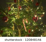 beautiful christmas tree on dark background - stock photo