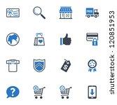 shopping icons set 2   blue... | Shutterstock .eps vector #120851953