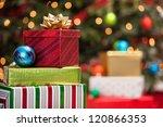 stacks of christmas presents... | Shutterstock . vector #120866353