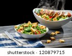 Salad from fresh vegetables and hot chicken - stock photo