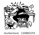 man working madly at desk  ... | Shutterstock .eps vector #120882253