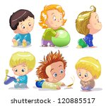 funny babies on a white... | Shutterstock .eps vector #120885517