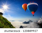 colorful hot air balloons... | Shutterstock . vector #120889927