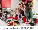 young women in the kitchen | Shutterstock . vector #120891403