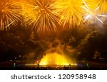 Fireworks over the Multimedia Fountain, Wroclaw, Poland - stock photo