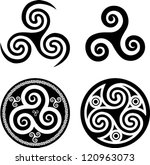 black isolated celtic triskel...