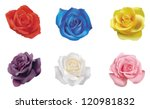 6 color roses collection, create by vector - stock vector