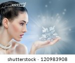 snow Queen with a crown - stock photo