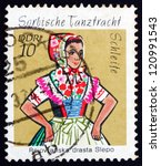 Small photo of GDR - CIRCA 1971: a stamp printed in GDR shows Sorbian Dance Costume, Schleife, circa 1971