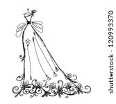 Sketch of bridal dress with floral ornament for your design - stock vector