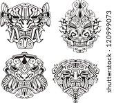 aztec monster totem masks. set... | Shutterstock .eps vector #120999073
