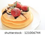 freshness strawberry and banana on pancake for gourmet western breakfast image - stock photo