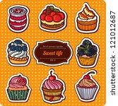 set of cartoon style cupcakes.... | Shutterstock .eps vector #121012687