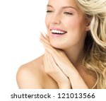 portrait of attractive  caucasian smiling woman blond isolated on white studio shot  toothy smile face long hair blond head and shoulders hands nails - stock photo