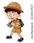 illustration of boy scout with... | Shutterstock .eps vector #121017517
