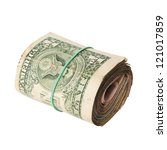 dirty roll of United States dollars isolated white - stock photo