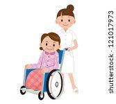 patient in a wheelchair next to ...   Shutterstock . vector #121017973