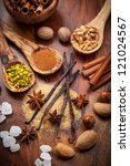 Aromatic food ingredients for baking Christmas cookies - stock photo