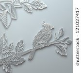 paper decorative bird illustration - stock photo