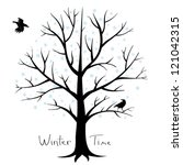 Winter tree and crows - stock vector