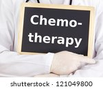 Doctor shows information: chemotherapy - stock photo