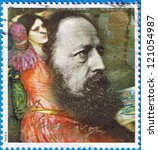Small photo of GREAT BRITAIN - CIRCA 1992: a stamp printed in the Great Britain shows portrait of Alfred Lord Tennyson, centenary of death, circa 1992