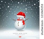snowman have hat red santa...