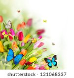 Beautiful Spring Flowers With...